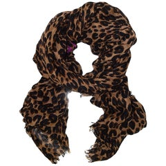 Louis Vuitton Brown Cashmere/Silk Leopard Stephen Sprouse Stole Scarf