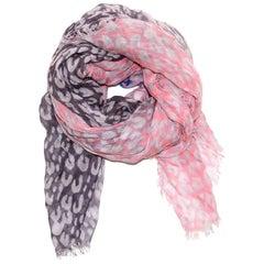 Louis Vuitton Pink & Purple Cashmere/Silk Leopard Stephen Sprouse Stole Scarf