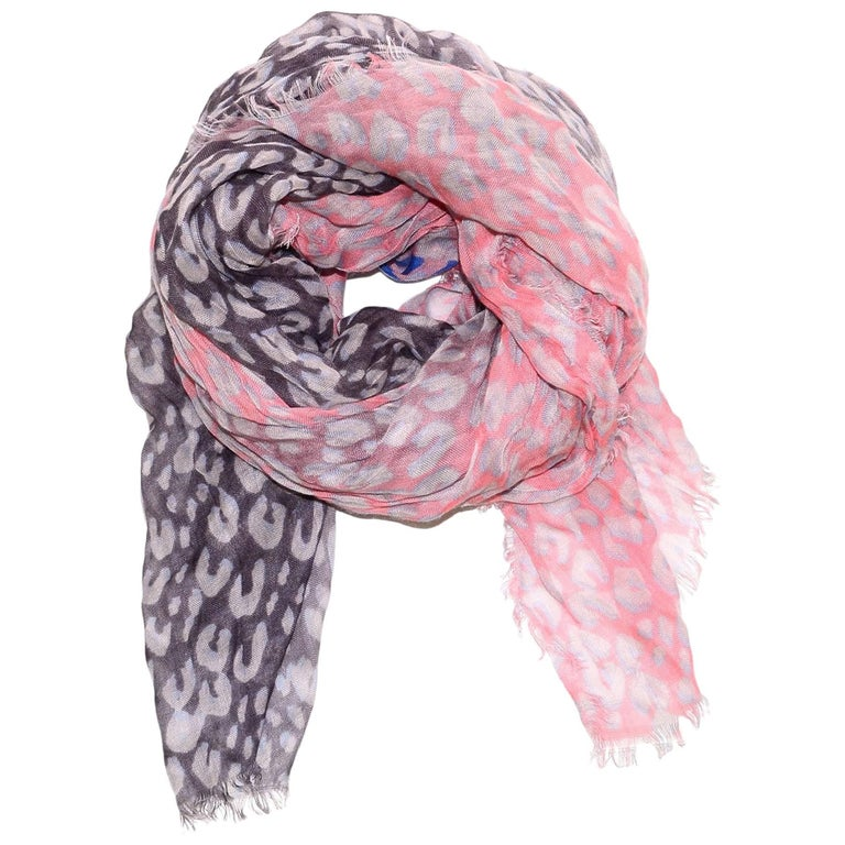 aa711ee3cc29 Louis Vuitton Pink   Purple Cashmere Silk Leopard Stephen Sprouse Stole  Scarf For Sale