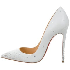 Christian Louboutin New Sold Out White Leather Crystal So Kate Heels Pumps W/Box