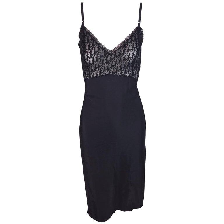 1990's Christian Dior Black Sheer Mesh Monogram Slip Dress