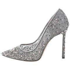Jimmy Choo New Sold Out Silver Pearl High Heels Pumps in Box