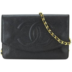 Chanel Black Caviar Leather WOC Wallet on Chain Crossbody Flap Shoulder Bag