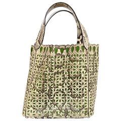 Alaia Beige & Green Python Snakeskin Laser-Cut Tote Bag