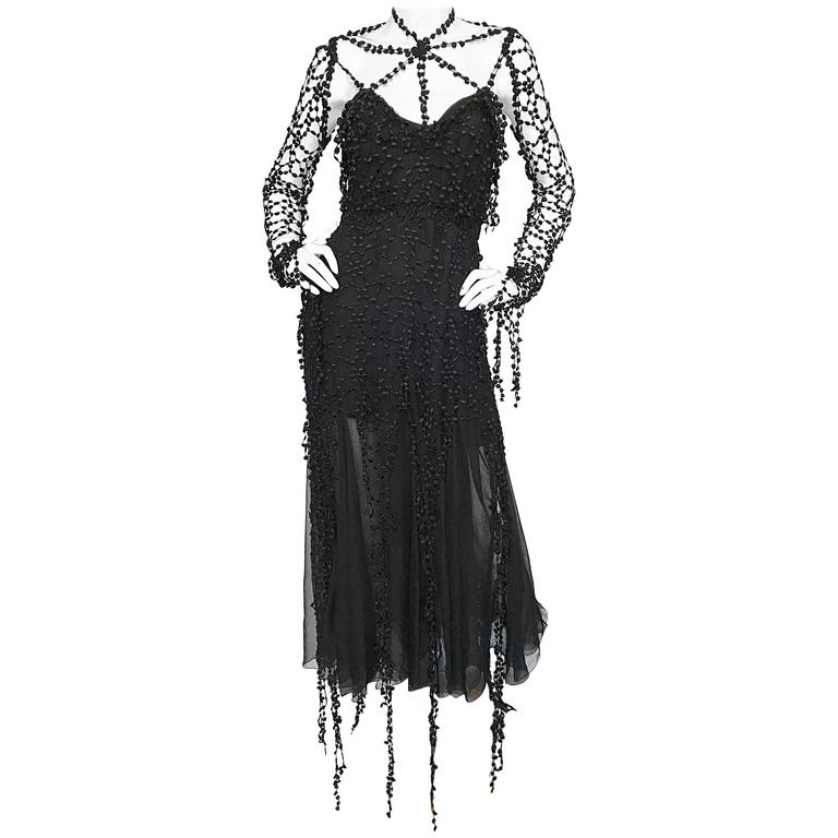1990s Karl Lagerfeld Vintage ' Spiderweb ' Black Silk Chiffon Vintage 90s Dress For Sale