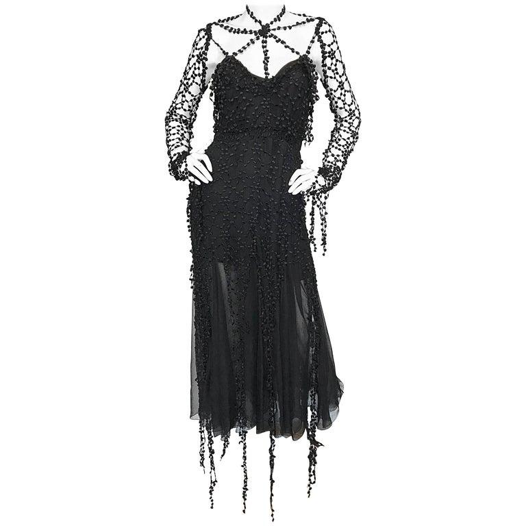 1990s Karl Lagerfeld Vintage ' Spiderweb ' Black Silk Chiffon Vintage 90s Dress 1