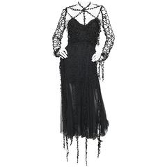 1990s Karl Lagerfeld Vintage ' Spiderweb ' Black Silk Chiffon Vintage 90s Dress