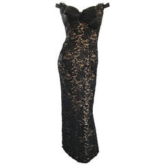 Vintage Size 8 Bob Mackie Black Lace Sequin 1990s 90s Evening Off Shoulder Gown