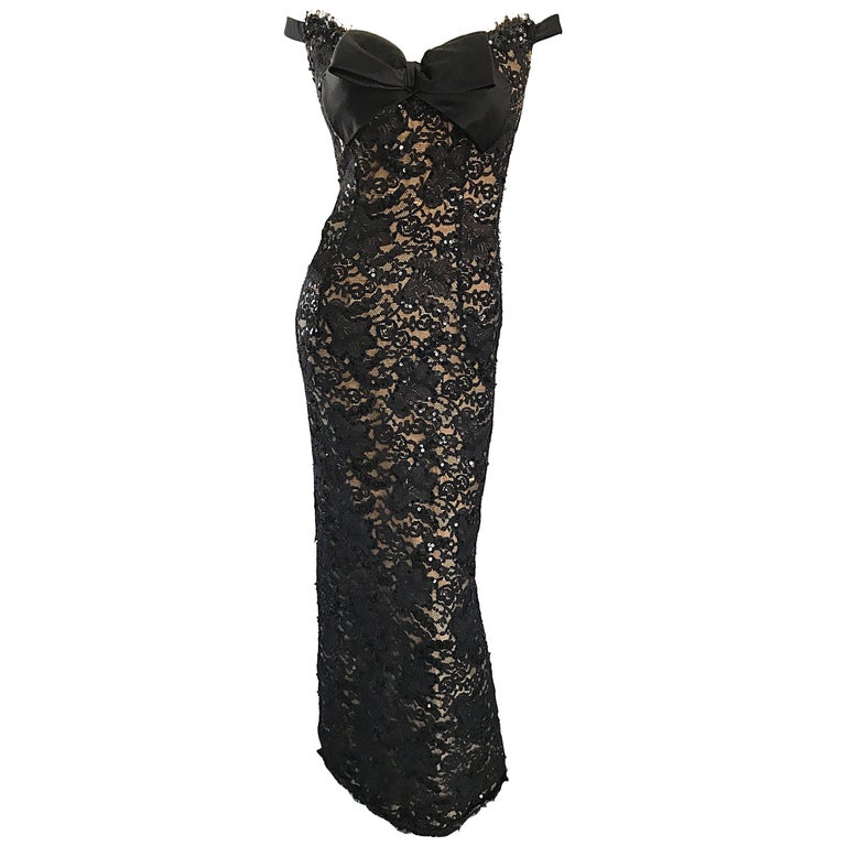 Vintage Bob Mackie Black Lace Sequin Size 8 1990s 90s Evening Off Shoulder Gown  For Sale