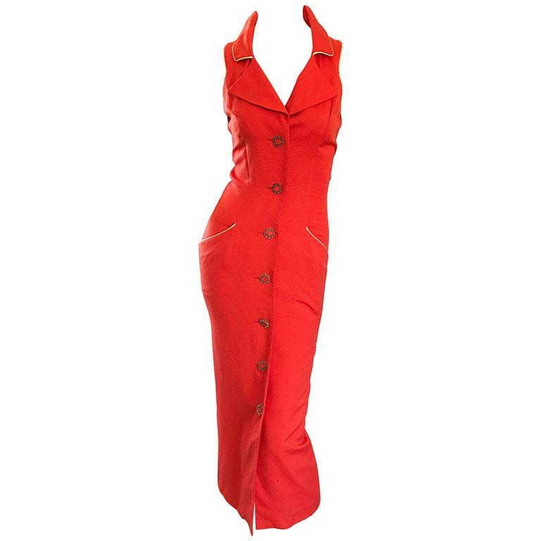 Fiorencci 1990s Does 1950s Burnt Orange + Gold Cotton Linen Vintage Wiggle Dress For Sale