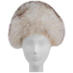 60s Gumdrop Shape White Fox Fur Hat