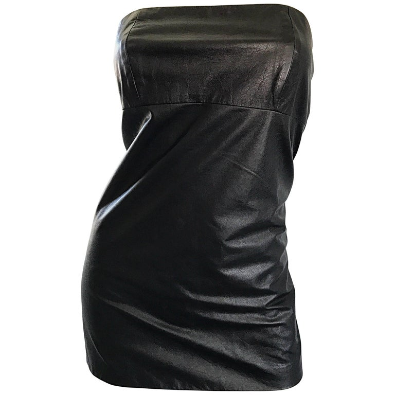 Martin Margiela Early 2000s Black Leather Sexy Bodycon Mini Dress or Tunic Top