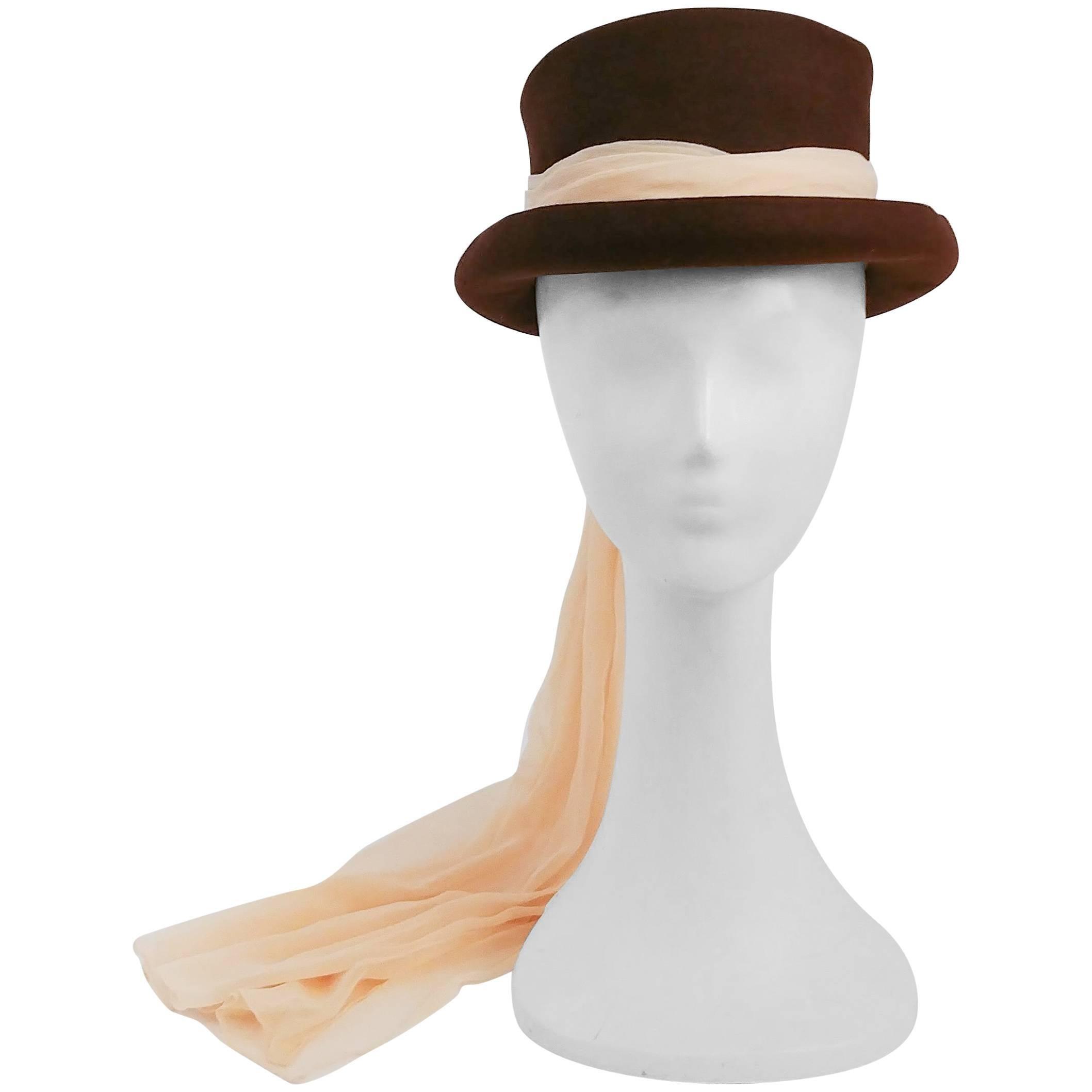 40s Stetson Fur Felt Hat w/ Long Chiffon Hatband