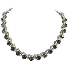 1950s Smoky Grey Rhinestone Necklace