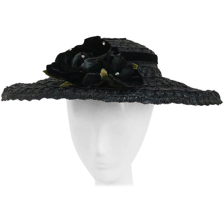 50s Black Hat w  Rose For Sale at 1stdibs 52deea9a61c