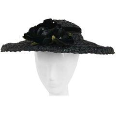 50s Black Hat w/ Rose