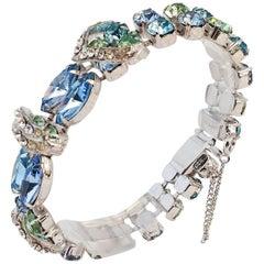 60s Eisenberg Blue & Green Crystal Bracelet