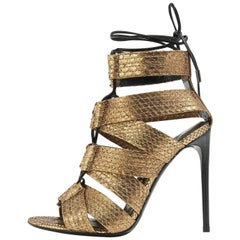 Tom Ford New Sold Out Bronze Snakeskin Cut Out Evening Sandals Heels in Box