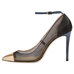 Jimmy Choo New Sold Out Mesh Black Blue Gold Evening Sandals Heels in Box