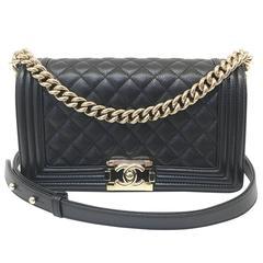 Chanel Medium Boy Bag Caviar Leather Gold