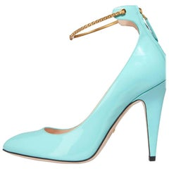 Gucci New Sold Out Tiffany Blue Patent  Gold Chain Evening Pumps Heels in Box