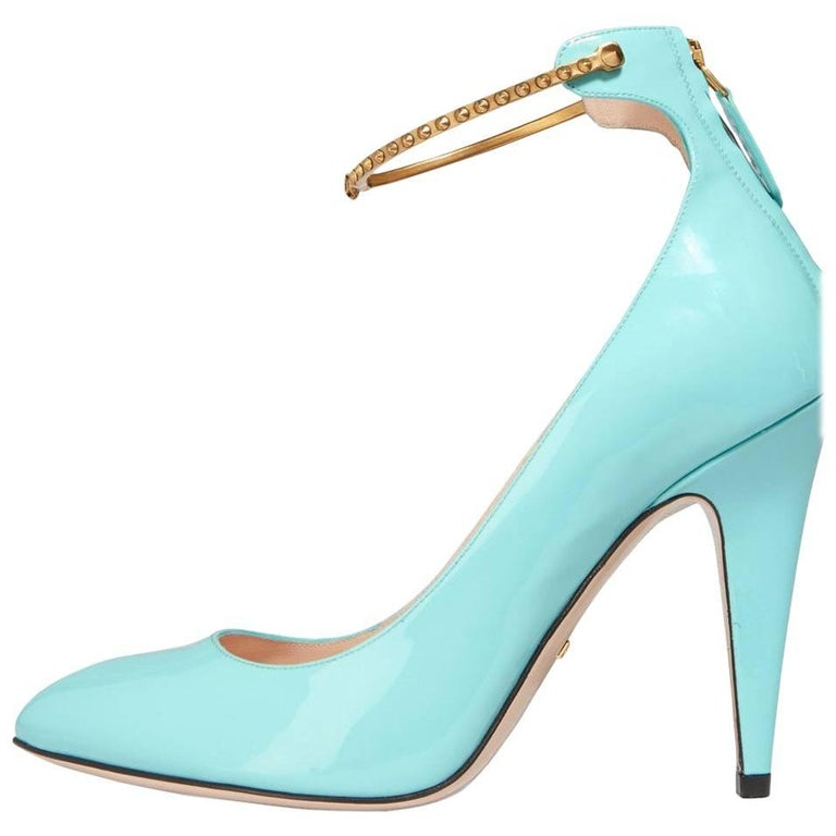 Gucci new sold out tiffany blue patent gold chain evening pumps gucci new sold out tiffany blue patent gold chain evening pumps heels in box for sale junglespirit Gallery