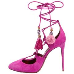 Dolce & Gabbana New Sold Out Pink Suede Pom Pom Evening Heels Pumps in Box