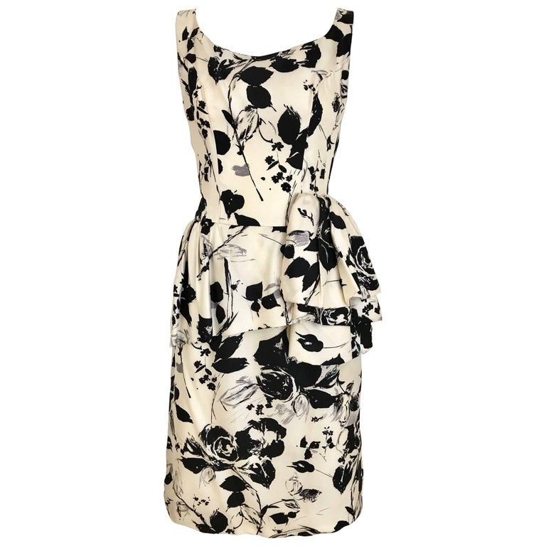 1960s Black and Ivory Floral Print Sleeveless Silk Sheath Vintage 60s Dress 1