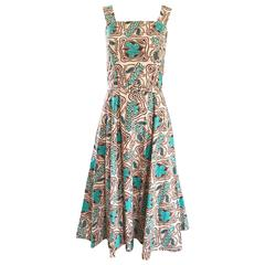 Wonderful 1950s Batik Print Teal & Brown Fit and Flare Belted Vintage 50s Dress