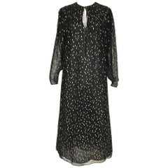 Vintage Oscar De La Renta 1970s Black and Gold Metallic Maxi Dress