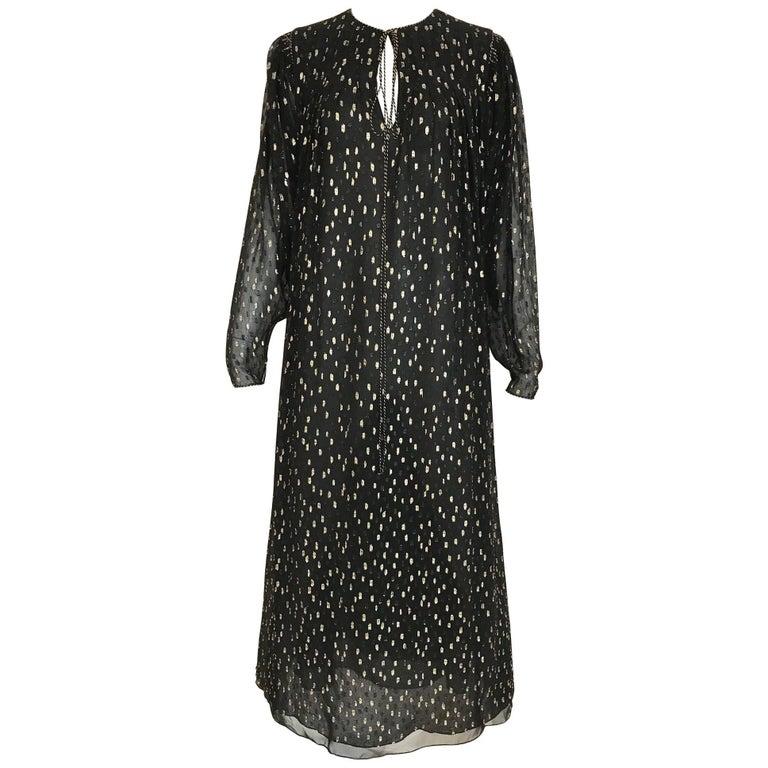 Vintage Oscar De La Renta 1970s Black and Gold Metallic Maxi Dress