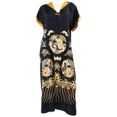 1930's Embroidered Silk Dress with Asian Motif