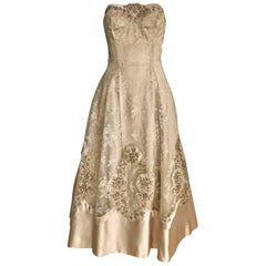 1950s Demi Couture Lace Satin Taupe Embroidered Strapless 50s Cocktail Dress