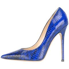Jimmy Choo New Sold Out Blue Python High Heels Pumps in Box