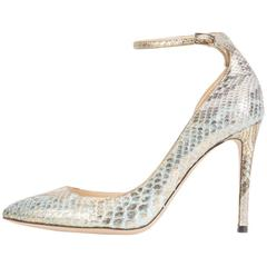 Jimmy Choo New Sold Out Metallic Python Evening High Heels Pumps in Box