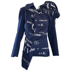 Rare Comme des Garcons AW 2003 Conformity + Corruption Navy Blue + Silver Jacket