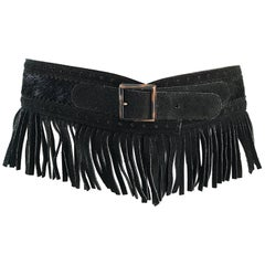 Rare Vintage Yves Saint Lauren 1970s Black Leather Suede + Calf Hair Fringe Belt