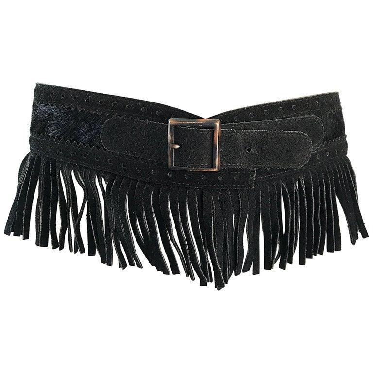 Rare Vintage Yves Saint Lauren 1970s Black Leather Suede + Calf Hair Fringe Belt For Sale