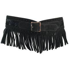 Rare Vintage Yves Saint Lauren 1970s Black Leather Suede + Calf Hair Fringe Belt