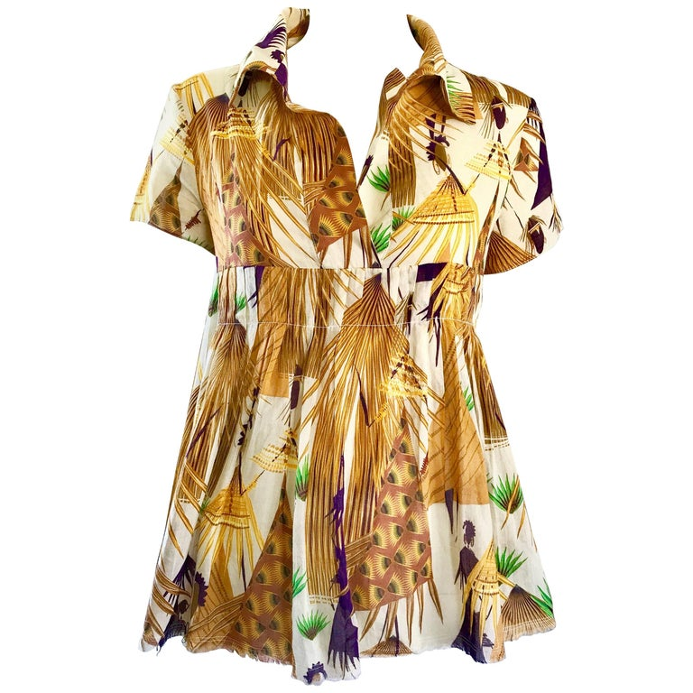 New Marni Spring 2017 Ethnic Peacock Feather Print Short Sleeve Babydoll Blouse