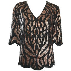 1980s Judith Ann Black + Copper Bronze Brown Animal Print Sequin Beaded Blouse