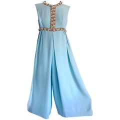 Amazing 1960s Pale Blue Silk Crepe Rhinestone Beaded Cropped Culottes Jumpsuit