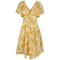 1990s CHLOE Yellow and Creme Floral Print Cotton Vintage 90s casual Dress