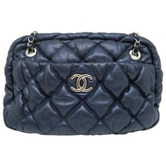 Chanel Dark Blue Quilting Lambskin Leather Chain Shoulder Bag