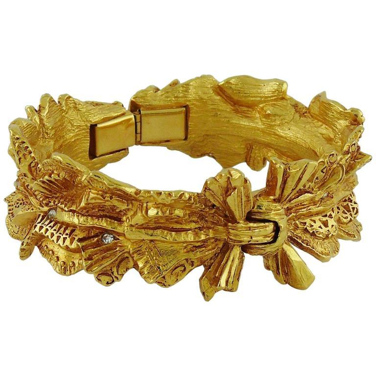 Christian Lacroix Vintage Textured Gold Tone Ribbon Bow Clamper Bracelet For Sale