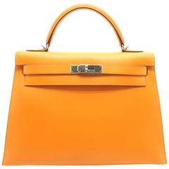 Hermes Kelly 32 Orange Box Leather SHW Shoulder Tote Bag