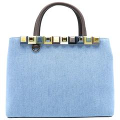 Fendi Petite 2Jours Blue/ Brown/ Multicolor Denim Studded Satchel Bag