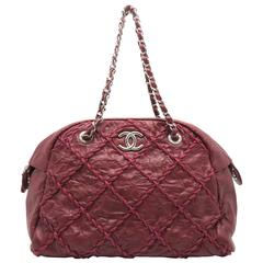 Chanel Red Quilting Calfskin Leather Silver Metal Chain Shoulder Bag