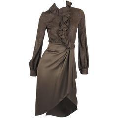 Gucci Silk Wrap Dress - army green 2012