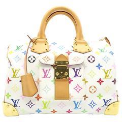 Louis Vuitton Speedy 30 White Monogram Multicolore Handbag